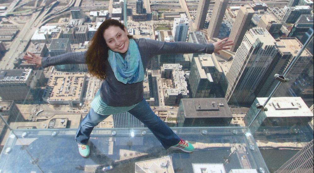 Nydia Monarrez over city skyline